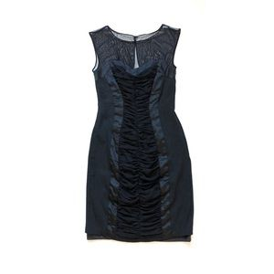 Cache Full Ruched Body Con Little Black Dress